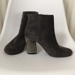 reaction kenneth cole sparkly suede booties sz 9.5